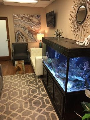 Office indoor with aquarium And art